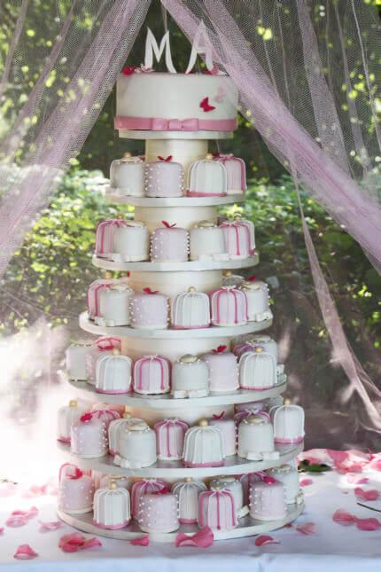 Cupcake Wedding cake with cupcakes that look like wedding presents