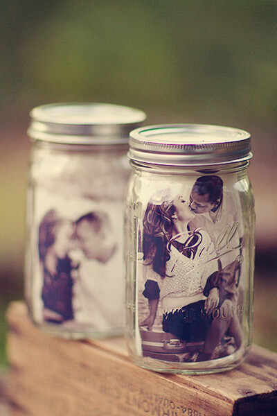Wedding Table Decor Idea: Mason Jars With Couple's Photo Inside