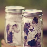 Clever Idea! Mason Jars With Photo Inside for Table Decor