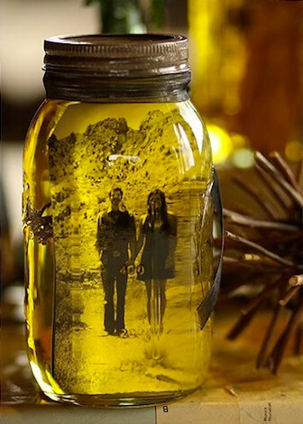 Photos in mason jars