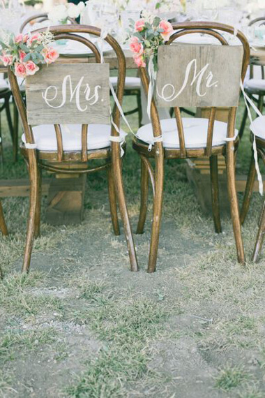 Wedding chair back decorations for bride and groom