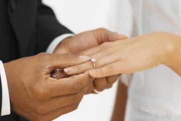 Slipping ring on bride's finger