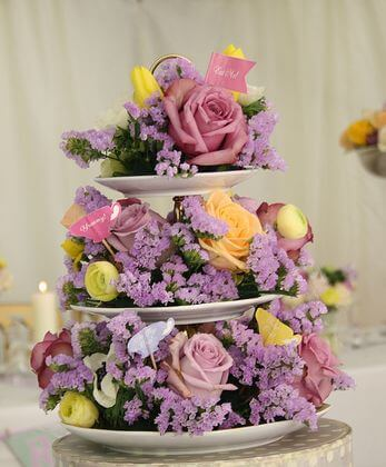 Cake stand wedding centerpiece