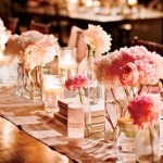 Pastel Pink Decor for Rectangular Reception Tables