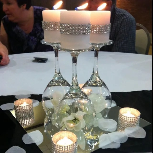 Glam centerpiece idea - Upside wine glasses