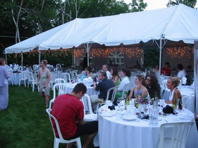 Wedding tent for backyard wedding reception.