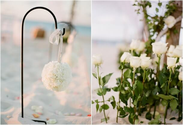 Beach wedding aisle markers