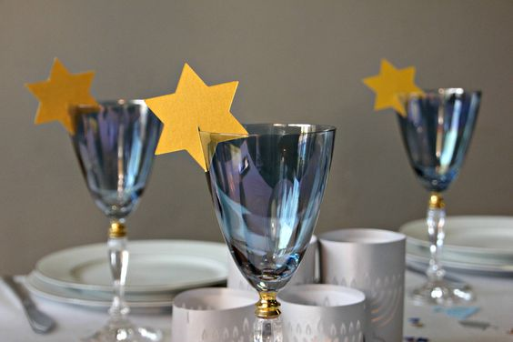 Star wine glass decorations for wedding reception