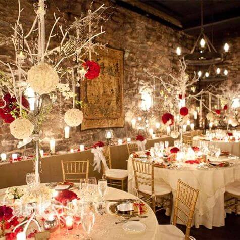 Red and White theme holiday season wedding