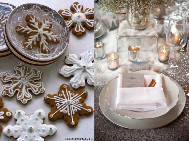 Holiday Season wedding snowflake cookies