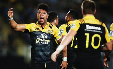 Ardie Savea celebrates victory for the Hurricanes