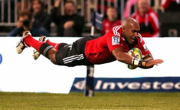 Former Crusaders Super Rugby winger Nemani Nadolo dives for the tryline
