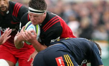 Scott Barrett defends the ball for the Crusaders
