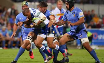 Juan de Jongh on the attack for the Stormers against the Force