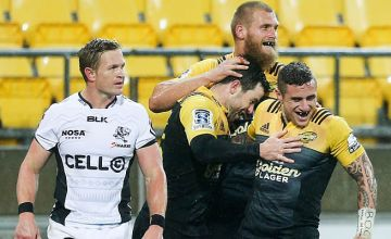TJ Perenara and James Marshall celebrate a try