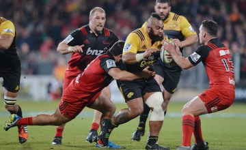 Loni Uhila of the Hurricanes charges forward during the round 17 Super Rugby match between the Crusaders and the Hurricanes