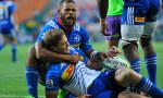 Nizaam Carr of the Stormers celebrates with SP Marais of the Stormers after scoring a try during the Super Rugby match