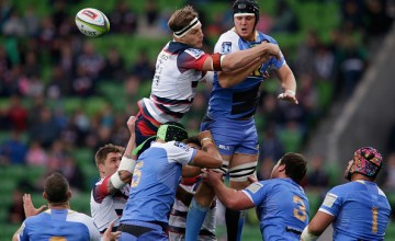 Luke Jones of the Rebels and Adam Coleman of the Force compete in a line out