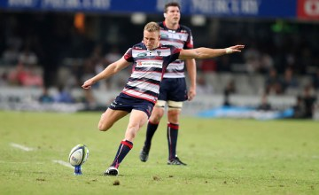 Rebels Reece Hodge kicks a penalty during the Super XV rugby