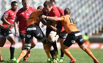 Andries Ferreira of the Lions during a Super Rugby match