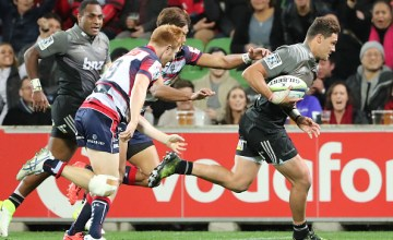 David Havili of the Crusaders scores a try during the round 14 Super Rugby match