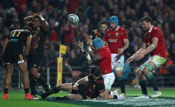 Jack Nowell of the Lions celebtrates after scoring his team's second try