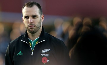 referee Mike Fraser lines up during the on field commemoration service for Anzac Day, ahead of the round nine Super Rugby match between the Highlanders and the Sunwolves