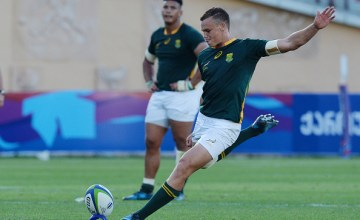 Curwin Bosch of South Africa scores a penalty during the World Rugby U20 Championship Semi Final