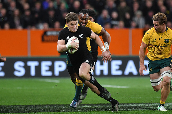 New Zealand's Beauden Barrett runs with the ball during the second Bledisloe Cup match between New Zealand and Australia under their Rugby Championship test,