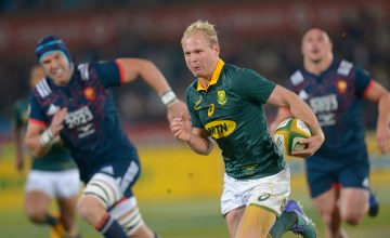 Ross Cronje of the Springboks breaks away to score a try during the Castle Lager Incoming Series 1st Test between South Africa and France