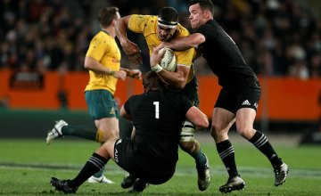 Rob Simmons of the Wallabies is tackled by Ryan Crotty of the All Blacks during The Rugby Championship Bledisloe Cup match between the New Zealand All Blacks and the Australia Wallabies at Forsyth Barr Stadium
