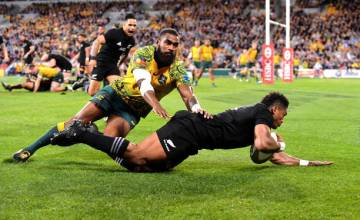 Waisake Naholo of the All Blacks scores a try during the Bledisloe Cup match between the Australian Wallabies and the New Zealand All Blacks