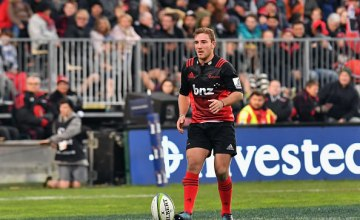 Mitchell Hunt of the Crusaders looks to kick a penalty kick during the round 15 Super Rugby match between the Crusaders and the Highlanders