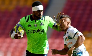 Tevita Nabura of the Highlanders takes on the defence during the 2018 Global Tens match between the Highlanders and the Chiefs