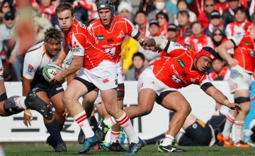 Hayden Parker of the Sunwolves attempts to pass the ball during the Super Rugby round 2 match between Sunwolves and Brumbies