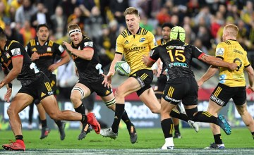 Jordie Barrett of the Hurricanes during the round nine Super Rugby match between the Hurricanes and the Chiefs