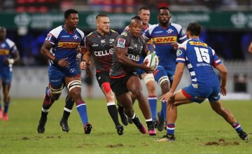 Sibusiso Nkosi of the Sharks during the Super Rugby match between Sharks and Stormers at Kings Park