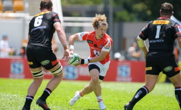 Michael Little (C) of Sunwolves moves the ball up against Stormers during the Super Rugby match between Sunwolves and Stormers at Mong Kok Stadium