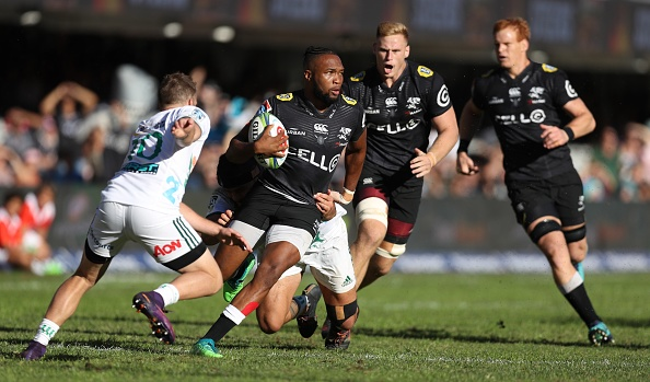 Lukhanyo Am of the Sharks on attack during the Super Rugby match between Sharks and Chiefs