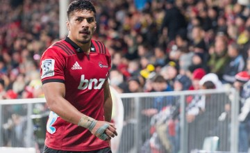 : Pete Samu of the Crusaders leaves the field during the round 15 Super Rugby match between the Crusaders and the Hurricanes