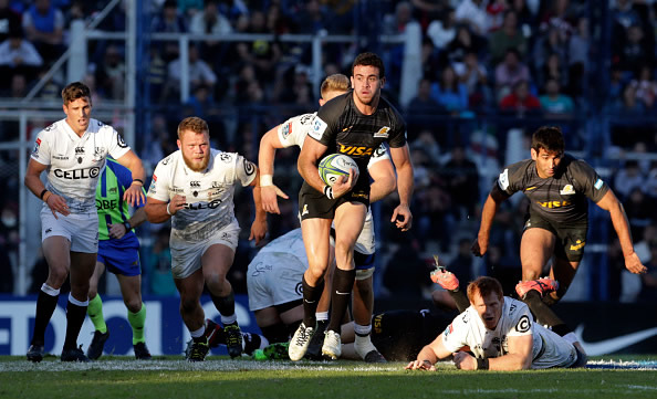 Emiliano Boffelli of Jaguares leads the action during a match between Jaguares and Sharks as part of Super Rugby 2018
