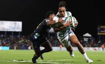 Sean Wainui of the Chiefs runs towards the line during the Super Rugby match between the Highlanders and the Chiefs at ANZ National Stadium on June 30, 2018 in Suva, Fiji.