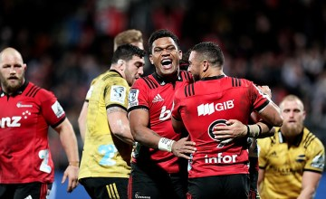 Seta Tamanivalu of the Crusaders celebrates with his team mates during the Super Rugby Semi Final match between the Crusaders and the Hurricanes at AMI Stadium