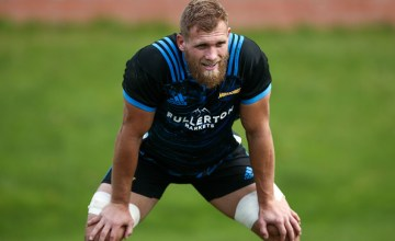 Brad Shields looks on during a Hurricanes Super Rugby training session at Rugby League Park