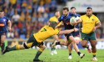 Ramiro Moyano of the Pumas is tackled during The Rugby Championship match between the Australian Wallabies and Argentina Pumas