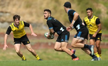 TJ Perenara in action during the Hurricanes training session at Rugby League Park