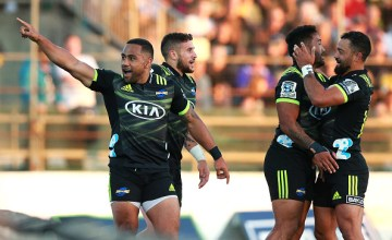 Ngani Laumape celebrates his second try of his hat-trick against the Brumbies