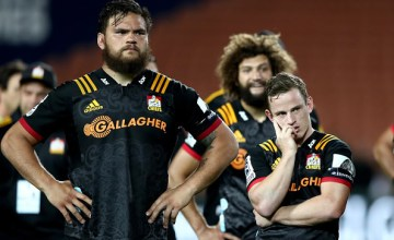 Angus Ta'avao and Brad Weber look on after losing to the Sunwolves in Super rugby for the first time