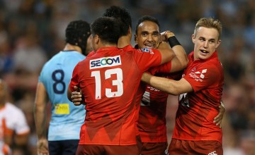 Semisi Masirewa scored a hat-trick as the Sunwolves won a historic first victory over the Waratahs in Newcastle