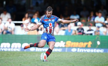 Handre Pollard kicks the Super rugby ball for the Bulls